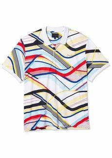 Sean John Men's Short Sleeve Curved Lines Printed Polo Shirt  M