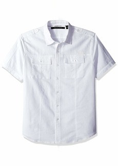 Sean John Men's Short Sleeve Linen Shirt  L