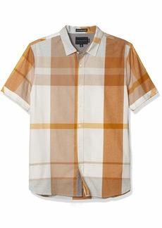 Sean John Men's Short Sleeve Multi Check Plaid Button Up Shirt  S