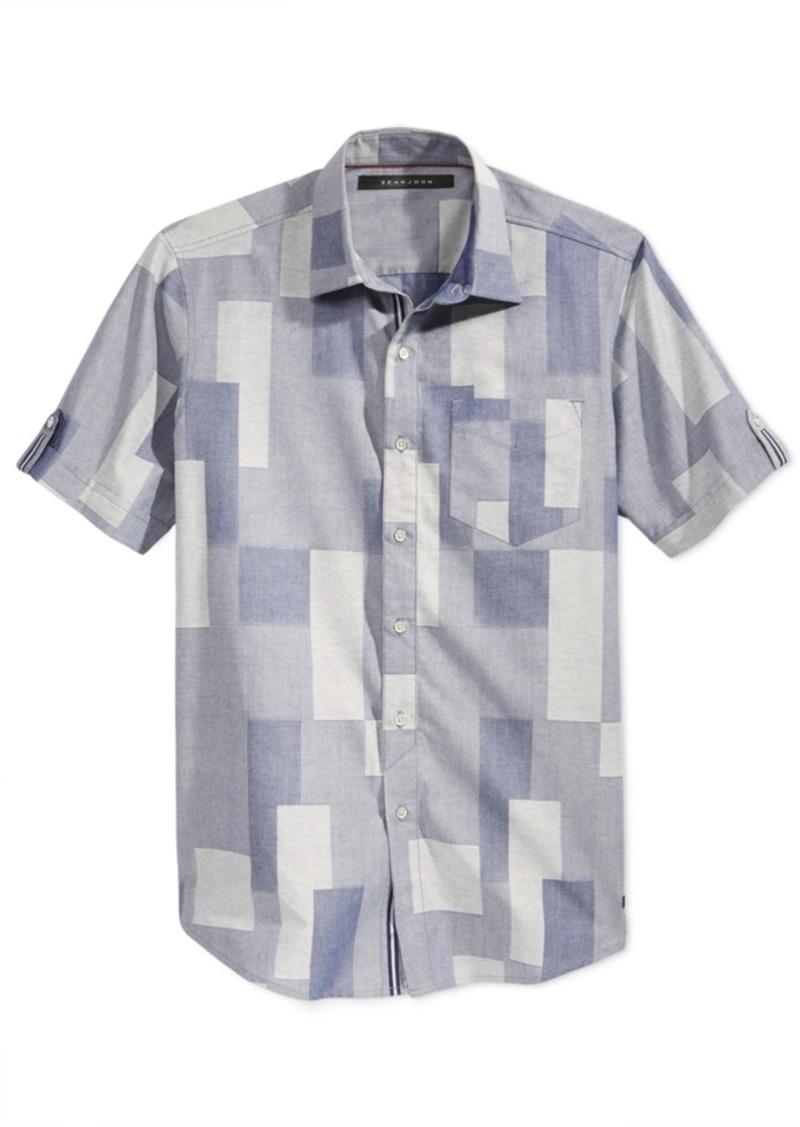 Sean John Men's Short-Sleeve Patchwork Shirt, Only at Macy's