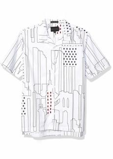 Sean John Men's Short Sleeve Printed Button Down Shirt  2XL