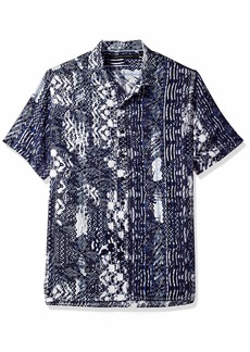 Sean John Men's Short Sleeve Printed Button Down Shirt  L