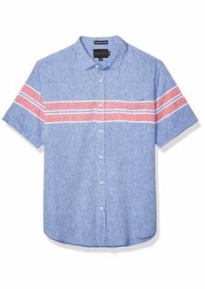 Sean John Men's Short Sleeve Printed Button Down Shirt  S