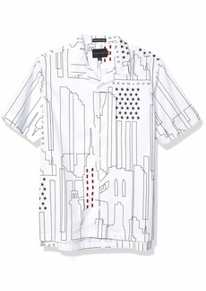 Sean John Men's Short Sleeve Printed Button Down Shirt  M