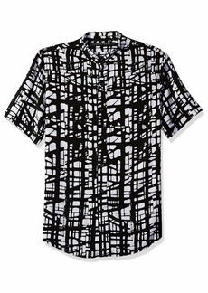 Sean John Men's Short Sleeve Printed Button Down Shirt  3XL
