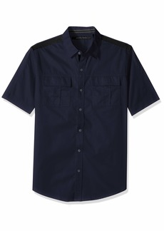 Sean John Men's Short Sleeve Solid Button Down Shirt  2XL
