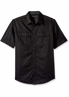Sean John Men's Short Sleeve Solid Button Down Shirt pm Black L