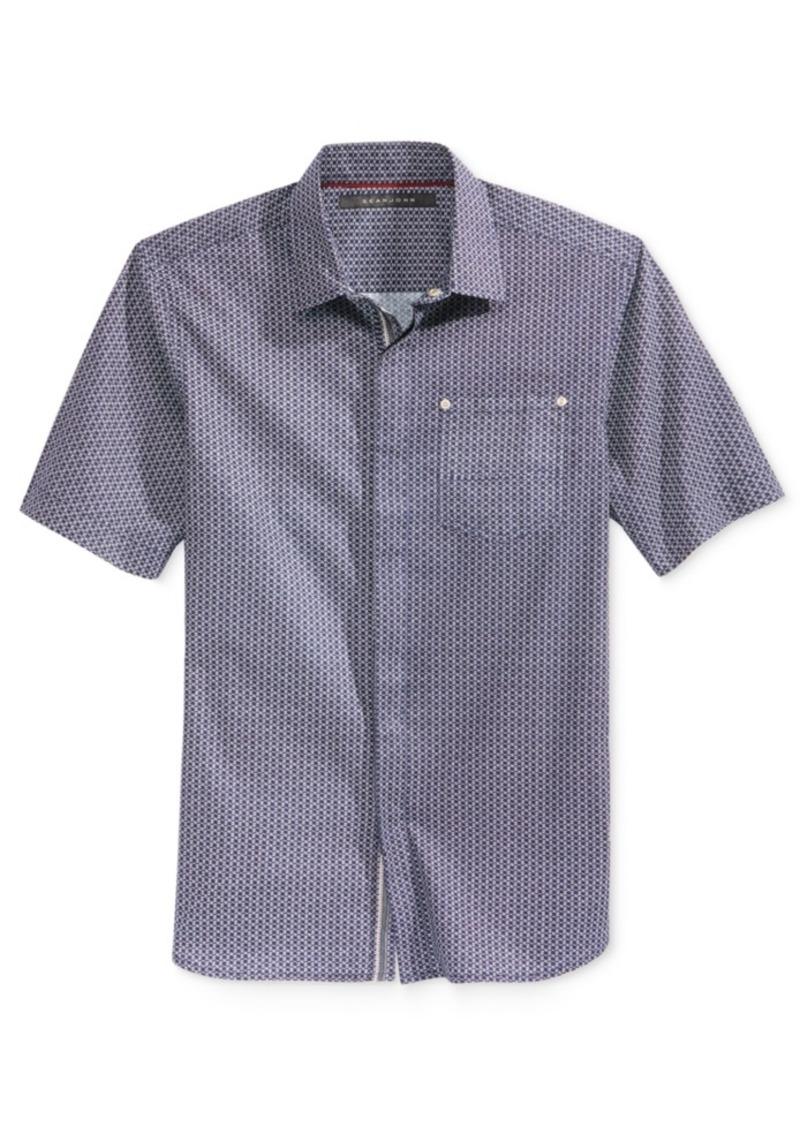Sean John Men's Short-Sleeve Spliced Woven Shirt