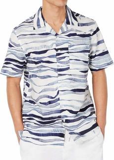Sean John Men's Short Sleeve Wavy Print Button Up Shirt  2XL