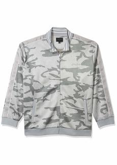 Sean John Men's Zip Up Printed Camo Faux Suede Track Jacket dust Grey L