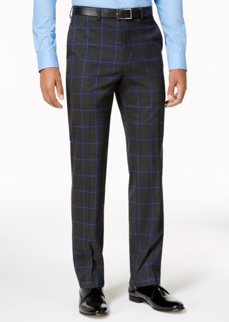 fcc385cfa79 Sean John Sean John Men s Slim-Fit Charcoal Windowpane Pants ...