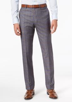 Sean John Men's Slim-Fit Stretch Gray/Blue Windowpane Suit Pants