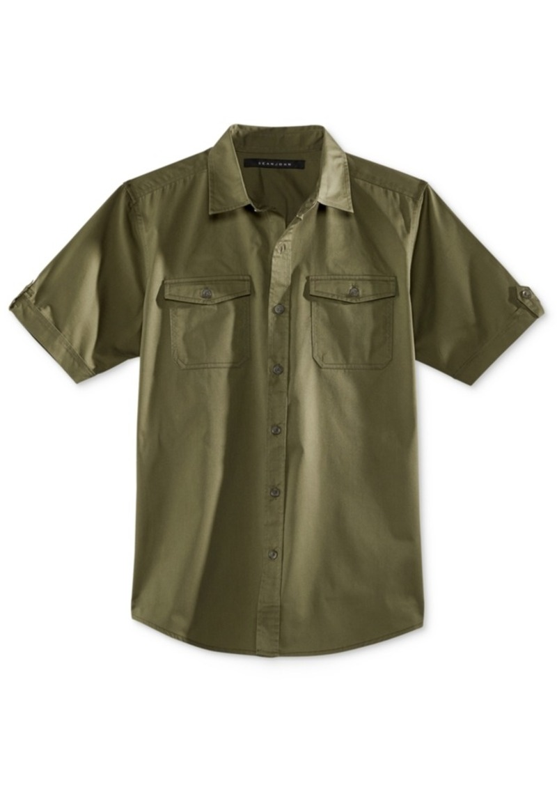 Sean John Men's Solid Button-Front Shirt