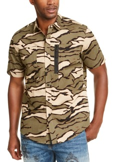 Sean John Men's Tiger Camouflage Military Flight Short Sleeve Shirt
