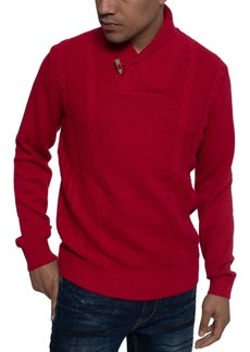 Sean John Men's Tri-Pattern Shawl Collar Sweater