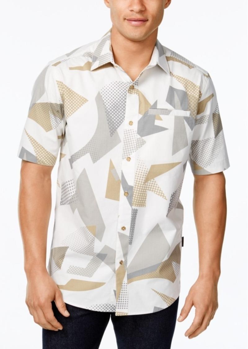 Sean John Men's White Washer Abstract-Print Short-Sleeve Shirt