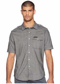 Sean John Short Sleeve Yarn-Dye Large Plaid Shirt
