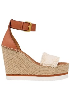 See by Chloé 120mm Canvas & Leather Wedge Sandals