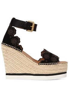 See by Chloé 120mm Glyn Laser Cut Suede Wedges