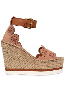 See by Chloé 120mm Laser-cut Flowers Suede Wedges