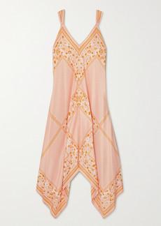 See by Chloé Asymmetric Draped Printed Silk Dress