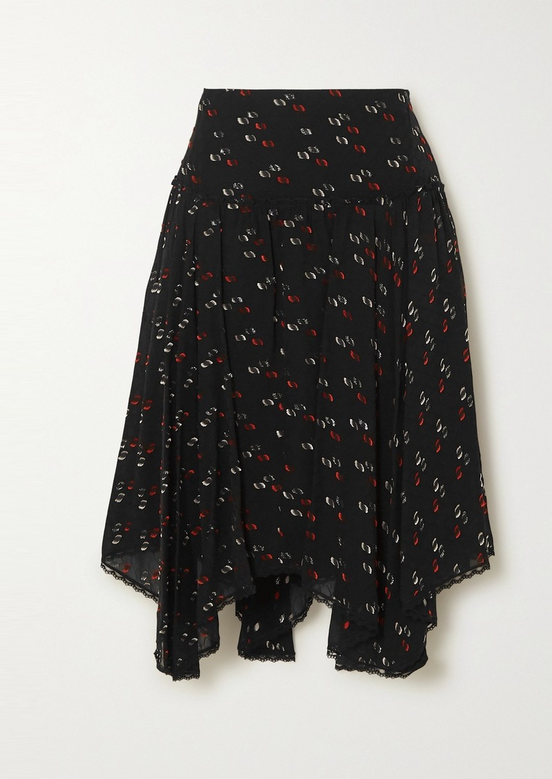 See by Chloé Asymmetric Lace-trimmed Metallic Fil Coupé Chiffon Skirt