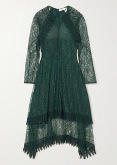 See by Chloé Asymmetric Metallic Lace Midi Dress