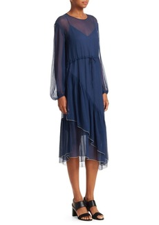 See by Chloé Asymmetric Sheer Silk Midi Dress
