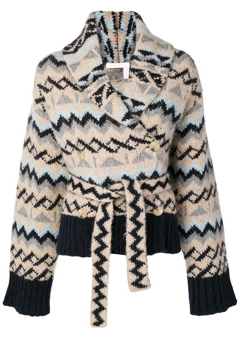 See by Chloé Aztec patterned wrap cardigan