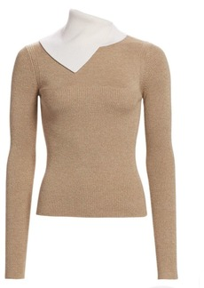 See by Chloé Bicolor Rib-Knit Merino Wool Sweater