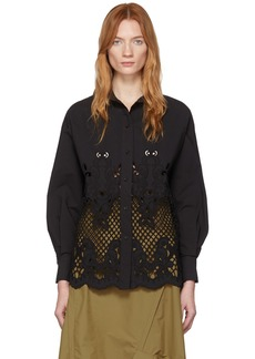 See by Chloé Black Broderie Anglaise Shirt