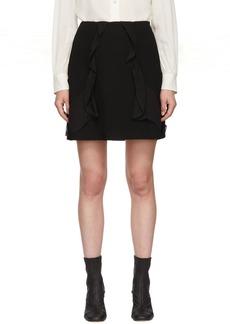 See by Chloé Black Crepe Ruffle Miniskirt