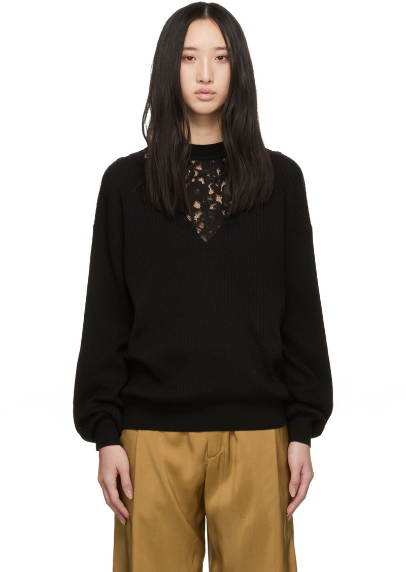 See by Chloé Black Lace Insert Sweater