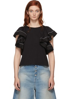 See by Chloé Black Ruffled Blouse