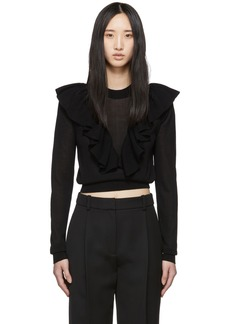 See by Chloé Black Ruffled Knit Sweater