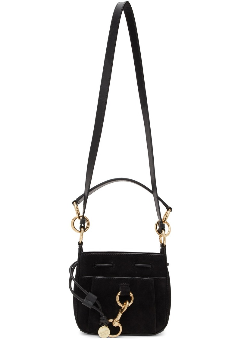See by Chloé Black Small Suede Tony Bucket Bag
