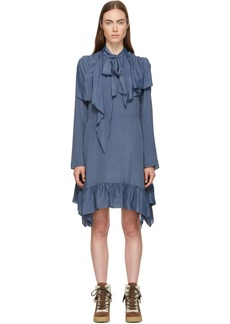 See by Chloé Blue Crepe de Chine Bow Blouse