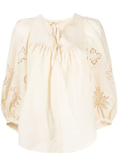 See by Chloé broderie angalaise cotton blouse