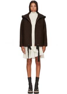 See by Chloé Brown Wool Zip Jacket