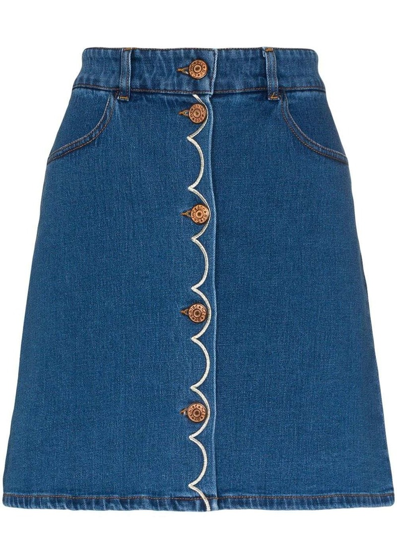 See by Chloé button down embroidered denim mini skirt