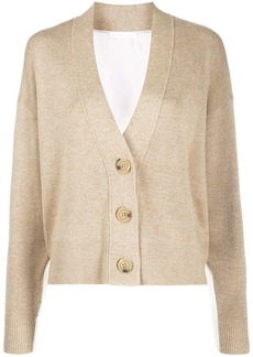 See by Chloé button up bi-colour cardigan