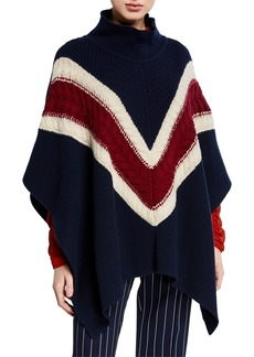 See by Chloé Cable-Knit Wool Chevron Poncho