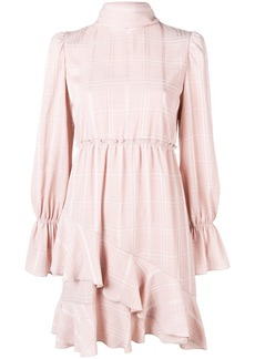 See by Chloé checked high neck ruffle dress