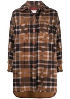 See by Chloé checked single-breasted coat
