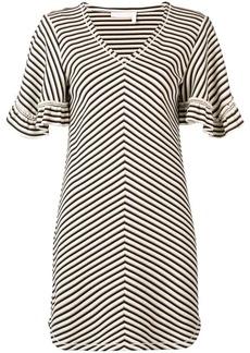 See by Chloé chevron frilled sleeve mini dress