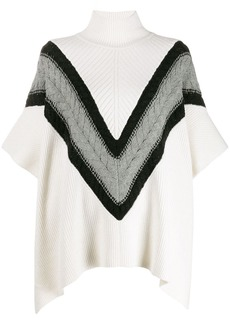See by Chloé Chevron knit turtleneck cape jumper