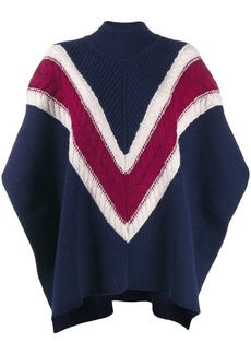 See by Chloé Chevron stripe knit poncho