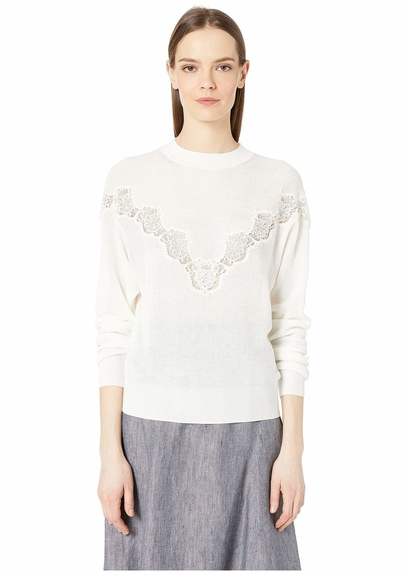 See by Chloé Floral Lace Panel Crew Neck Sweater
