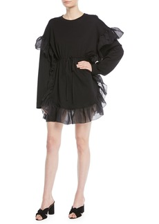 See by Chloé Cinched Long-Sleeve Ruffle Mini Dress