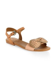 See by Chloé Clara Bow Leather Flat Sandals